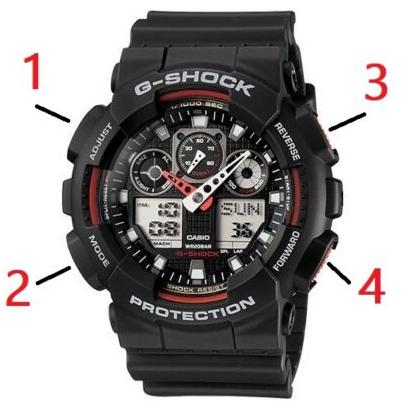 como ajustar un reloj casio G-shock GA-100 instrucción