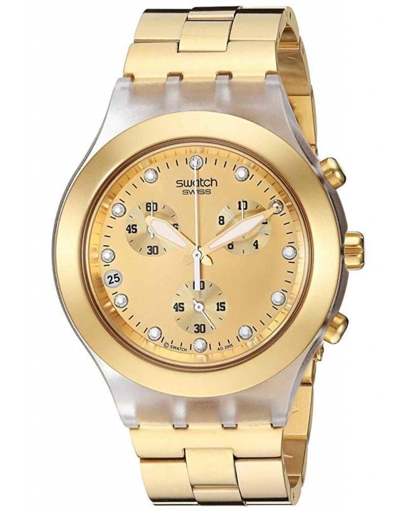 Mejores relojes Swatch SVCK4032G Unisex de Cuarzo, Correa de Acero Inoxidable Color Oro (con cronómetro)
