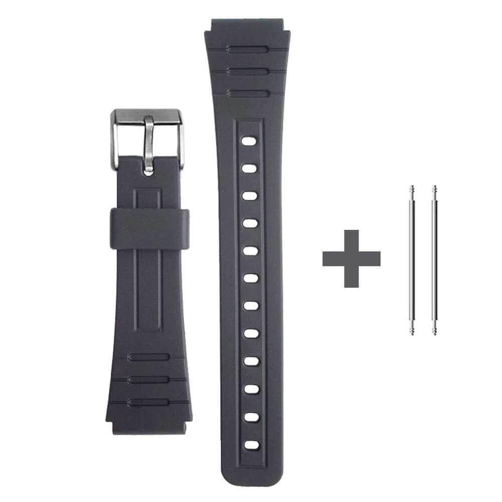 Correa de Repuesto Compatible con Reloj Casio F-91 Negra Pulsera 18mm Plastico con Pasadores Metálicos Recambio F91